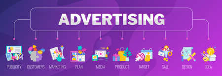 Advertising banner with set of icons. Creative Advertising strategy.