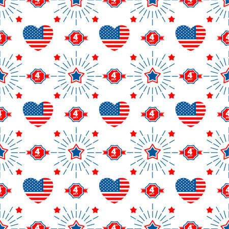 Independence day of USA flat vector seamless pattern.