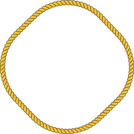 Collection of round outline decorative rope border frames Illustration