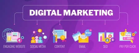 Digital marketing banner. Infographics Pictogram. Strategy, management Illustration