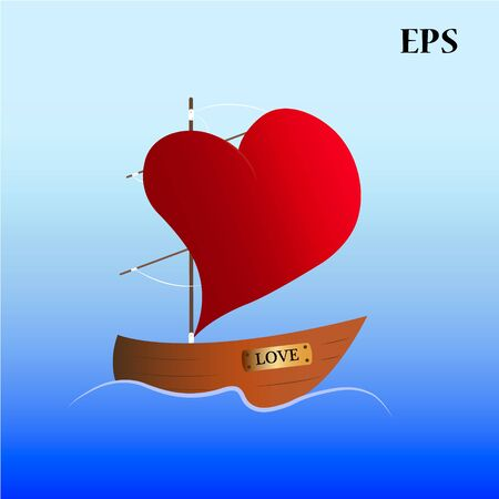 sails: boat with sails with shape of heart floats in the water Illustration