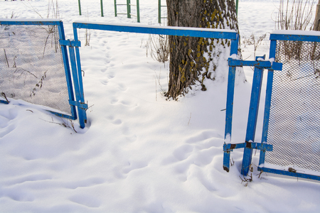 winter escape: hole in the blue fence with mesh Stock Photo