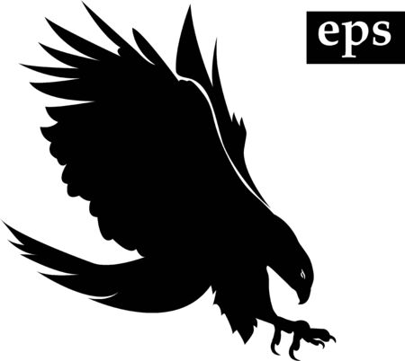 spread wings: black silhouette of flying eagle with spread wings Illustration