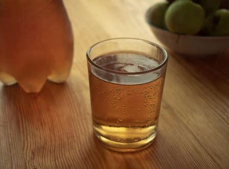 Cinematic apple soda cub with ice cubes Archivio Fotografico