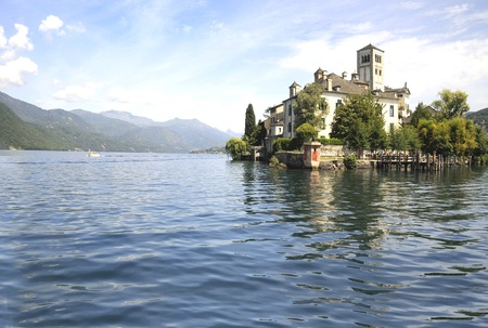 Lake Orta and San Guilio Island in Northern Italy  Stock Photo