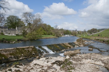 The village of Grassington in the Yorkshire Dales and Linton Falls Stock Photo