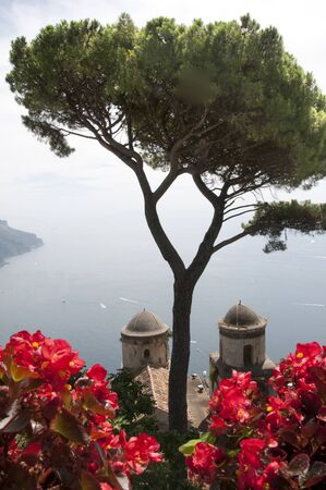marquetry: Ravello is high above the Amalfi Coast in Southern Italy. It is a beautiful hill town with fantastic views over the coastline. Wagner wrote some of his opera staying at the Villa Rufulo.Ravello festival is held on a stage over the clifftop garden  Stock Photo