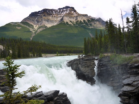 The Athabasca Falls on the Athabasca River in Jasper National Park Stock Photo
