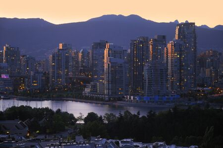 City of Vancouver at night in British Columbia Canada photo