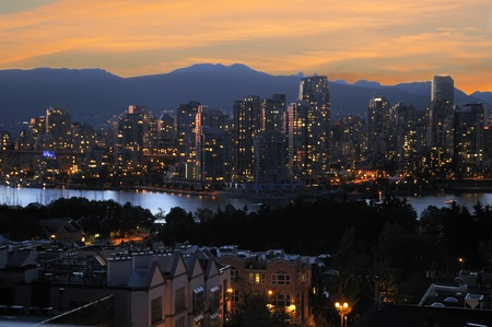 City of Vancouver at night in British Columbia Canada Stock Photo