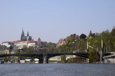 view of the castle from the River Vltava in Prague in the Czech republic photo