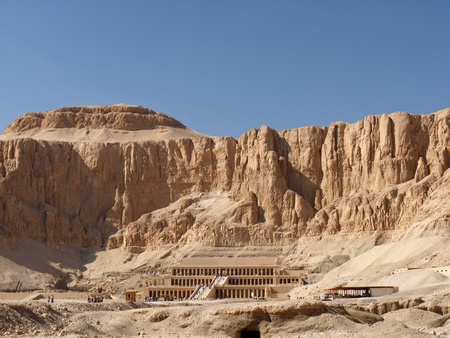 foremost: Mortuary Temple of the female Pharaoh Hatshepsut Luxor Egypt. Hatshepsut meaning, Foremost of Noble Ladies was the fifth pharaoh of the eighteenth dynasty of Ancient Egypt