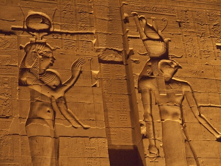 depictions: The temple to Sobek, the crocodile  god, at Kom Ombo in Egypt. This seems to have been a temple for healing the sick. On its walls are the only pictures of surgical instruments and depictions of women in labour in all Egypt Stock Photo