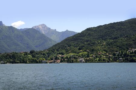 Lake Como in Lombardy, Northern Italy, called the Pearl of Lake Como, Bellagio is situated at the tip of the peninsula separating the lakes two southern arms, with the Alps visible across the lake to the north photo