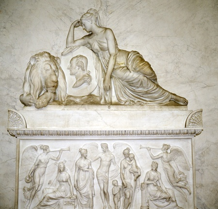 marble tomb in Loppia northern Italy photo
