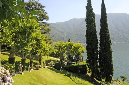 Beautiful Garden on Lake Como in Northern Italian Lake District photo