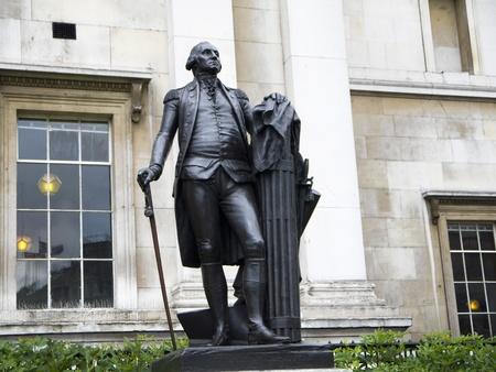 portico: Statue of George Washington in London England