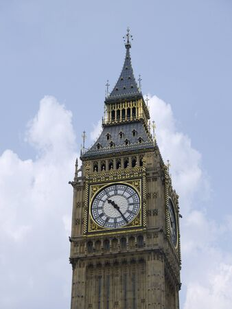 portico: Big Ben Clock on Palace of Westminster in London