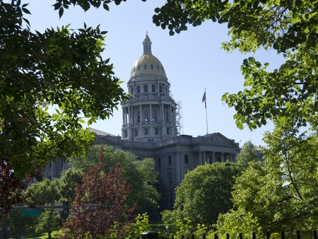 denver skyline with mountains: State Capital House in Downtown Denver Colorado USA