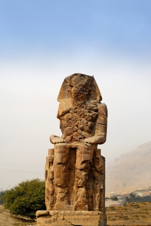 The Colossi of Memnon are two massive stone statues of Pharaoh Amenhotep III. For the past 3400 years they have stood in the Theban necropolis, across the River Nile from the modern city of Luxor