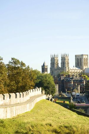 perpendicular: City Walls and York Minster England Stock Photo