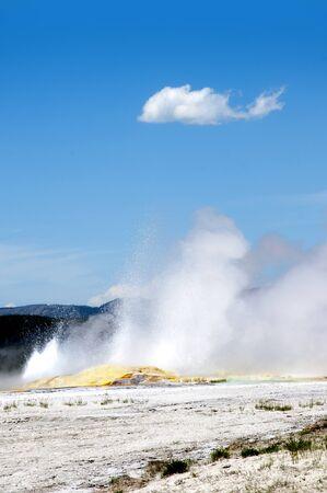Erupting Geyser in Yellowstone National Park Wyoming photo