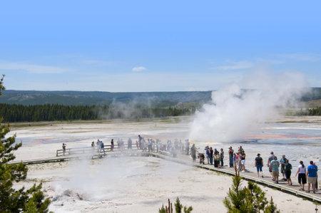 Erupting Geyser in Yellowstone National Park Wyoming