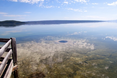 Geyser under Yellowstone Lake in Wyoming USA photo
