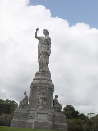 Gigantic Statue of the National Monument to the Forefathers in Plymouth Massachusetts USA