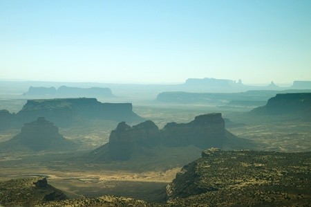 travel features: Monument Valley from the Air Navajo Tribal Lands Utah