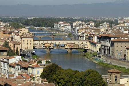 medici: Bridges over the River Arno in Florence Tuscany Italy
