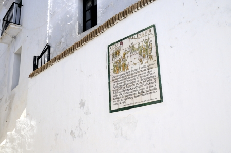conquered: Memorial plaque to the Battle of Frigiliana in 1495  when it was the last moorish village was conquered by King Ferdinand and Queen Isabella