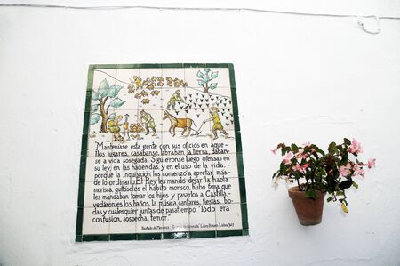 frigiliana: Memorial plaque to the Battle of Frigiliana in 1495  when it was the last moorish village was conquered by King Ferdinand and Queen Isabella