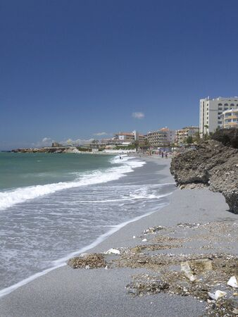 The Beach in Nerja on the Costa del Sol in Andalucia Spain