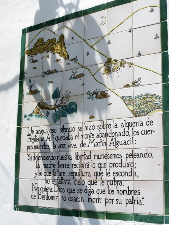 queen isabella: Memorial plaque to the Battle of Frigiliana in 1495  when it was the last moorish village was conquered by King Ferdinand and Queen Isabella