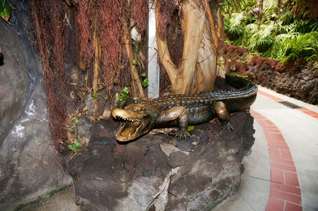 Bronze crocodile in Puerto de la Cruz in Tenerife in the Canary Islands Spain photo