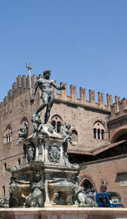 university fountain: Triton Fountain in the main Square of the Beautiful City of Bologna Italy