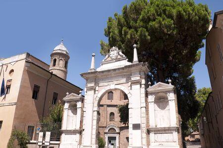romanesque: Gateway of Romanesque Church in Ravenna Italy Stock Photo
