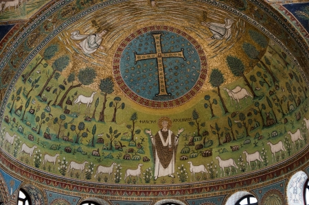ravenna: Wonderful10th century mosaic apse in Romanesque Church in Ravenna Italy Editorial