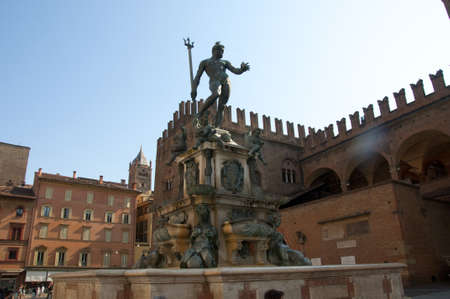 university fountain: Triton Fountain in the main piazza of Bologna a medieval city in Italy Stock Photo