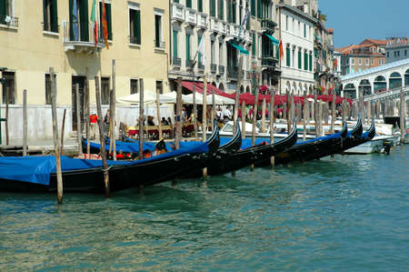 doges: The Grand Canal with the Rialto Bridge in Venice Italy