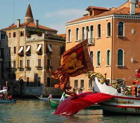 doges: Doges Gondola in the annual Regatta down the Grand Canal in Venice Italy