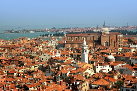 View of the rooftops from top of the Campanile of St Marks Basilica Venice Italy photo