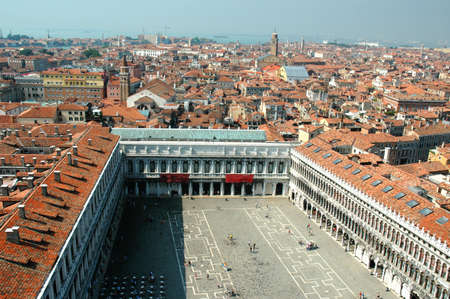 doge's palace: View of St Marks square from top of the Campanile of St Marks Basilica Venice Italy
