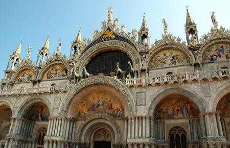 doge's palace: The Facade of St Marks Basilica in Venice Italy