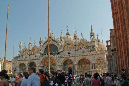 st mark's square: The Facade of St Marks Basilica in Venice Italy