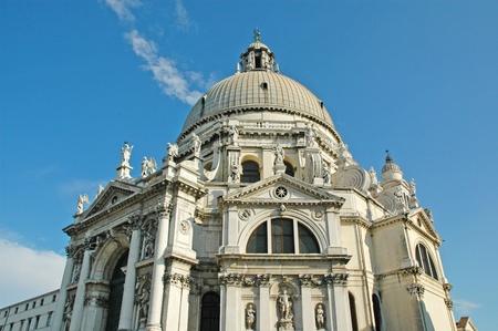 gondoliers: Church of Santa Maria della Salute in Venice Italy Stock Photo