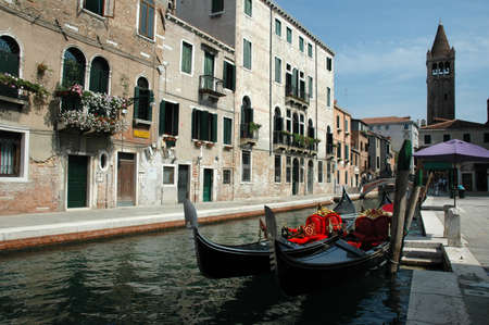 gondoliers: Quiet Side Canal in Venice Italy