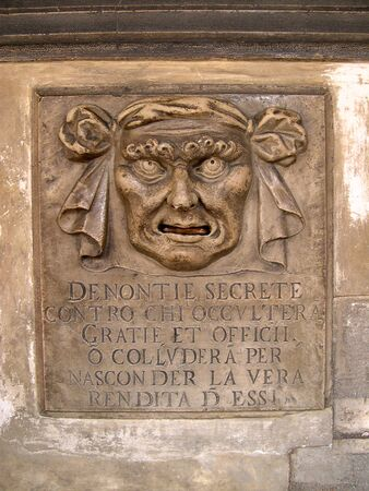 Letterbox in Doges Palace where citizens of Venice could denounce their neighbours and friends to the Doges Secret Police in Venice Italy