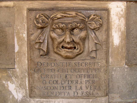 doges: Letterbox in Doges Palace where citizens of Venice could denounce their neighbours and friends to the Doges Secret Police in Venice Italy